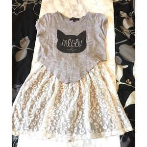 Other - 🍀 Girls Lace T-shirt Skater dress size 12